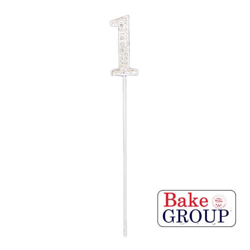 Cake Topper - Number 1 Silver Diamante 4cm