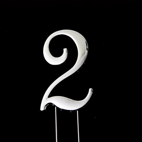 Cake Topper - Number 2 Silver 7cm