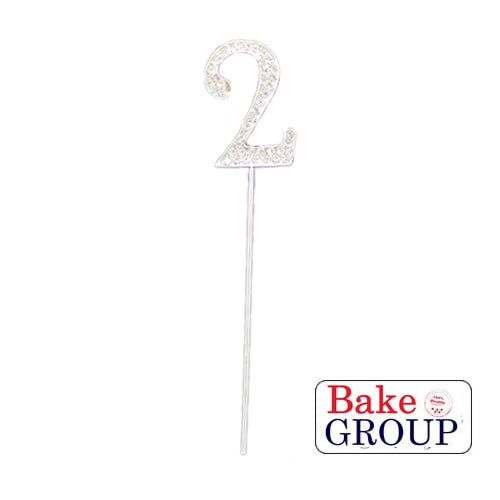 Cake Topper - Number 2 Silver Diamante 4cm