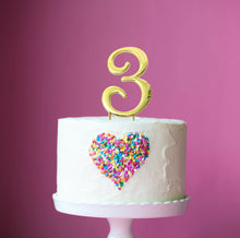 Load image into Gallery viewer, Cake Topper - Number 3 Gold 7cm