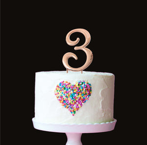 Cake Topper - Number 3 Rose Gold 7cm