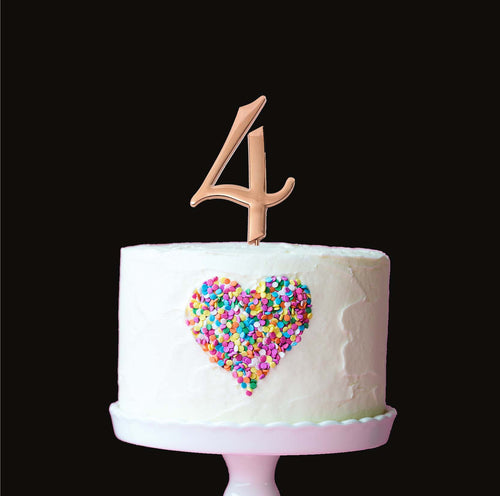 Cake Topper - Number 4 Rose Gold 7cm