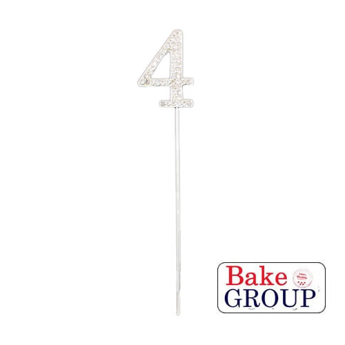 Cake Topper - Number 4 Silver Diamante 4cm