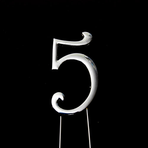Cake Topper - Number 5 Silver 7cm