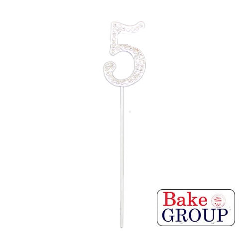 Cake Topper - Number 5 Silver Diamante 4cm