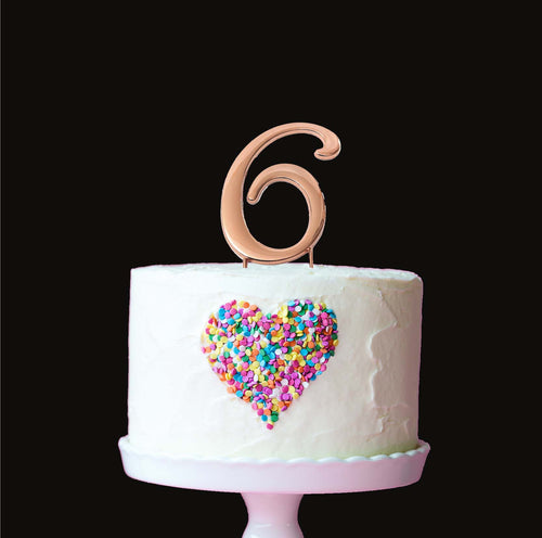 Cake Topper - Number 6 Rose Gold 7cm