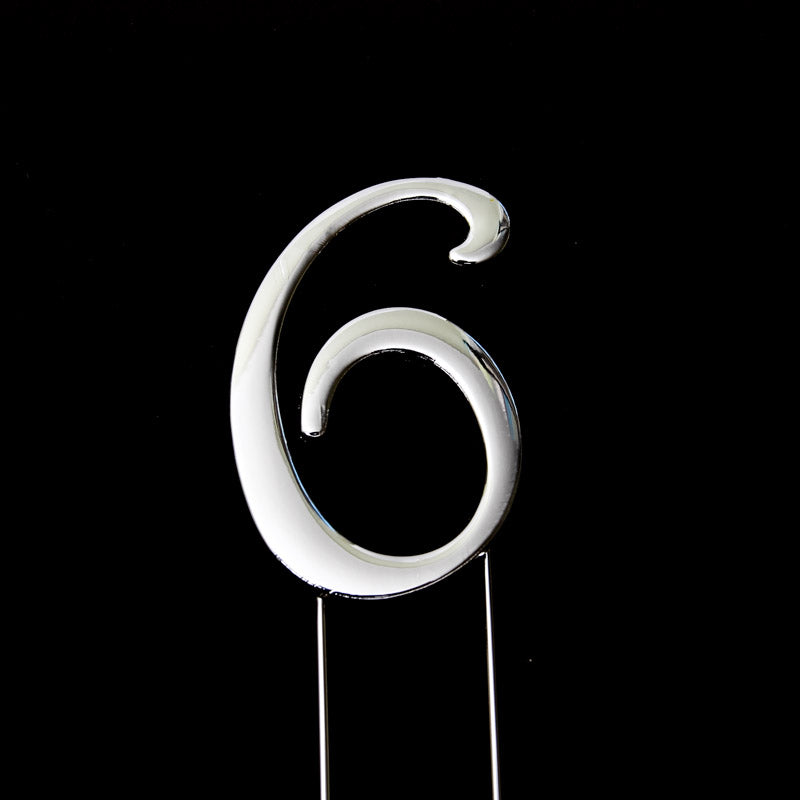 Cake Topper - Number 6 Silver 7cm