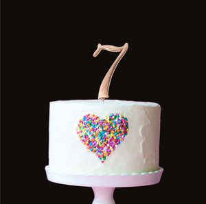 Cake Topper - Number 7 Rose Gold 7cm