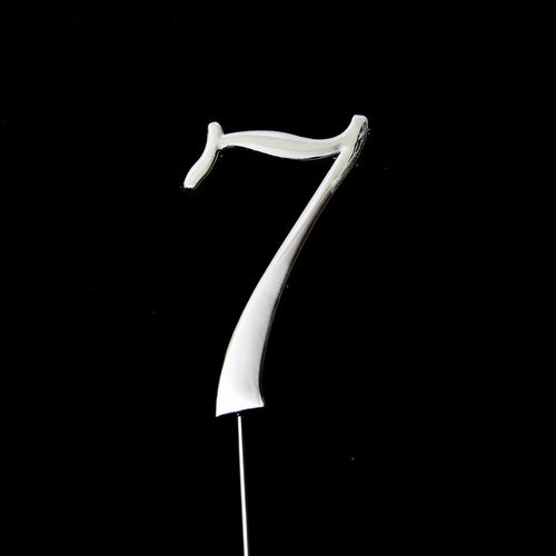 Cake Topper - Number 7 Silver 7cm