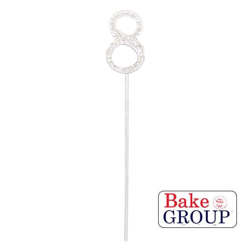Cake Topper - Number 8 Silver Diamante 4cm