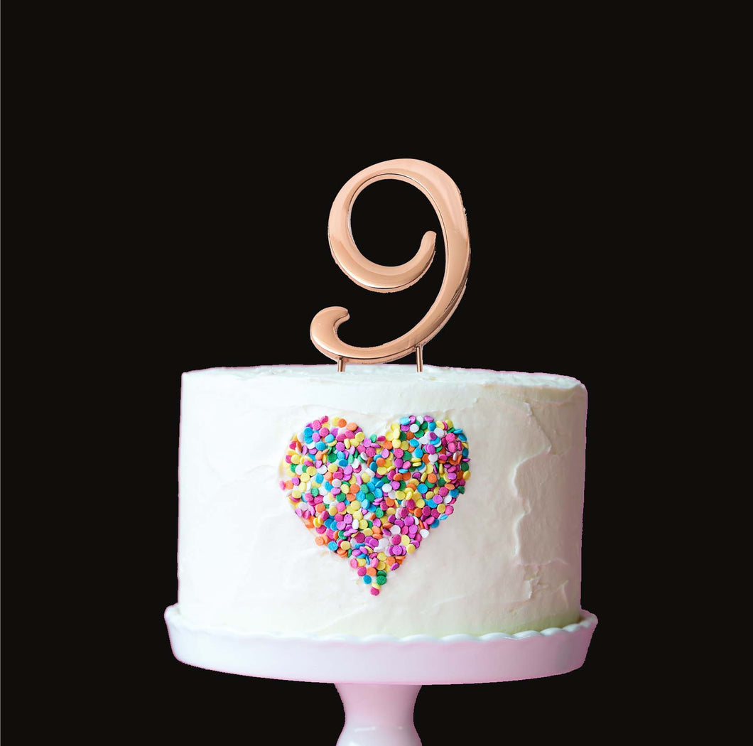 Cake Topper - Number 9 Rose Gold 7cm
