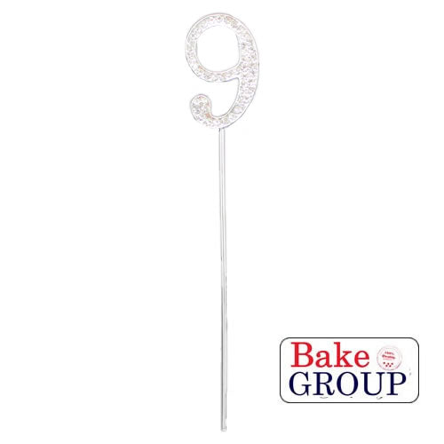 Cake Topper - Number 9 Silver Diamante 4cm