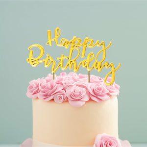 "Cake Topper - ""Happy Birthday"" 2 Gold Plated"