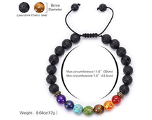 Load image into Gallery viewer, 7 Chakra Bead and Lava Stone Bracelet