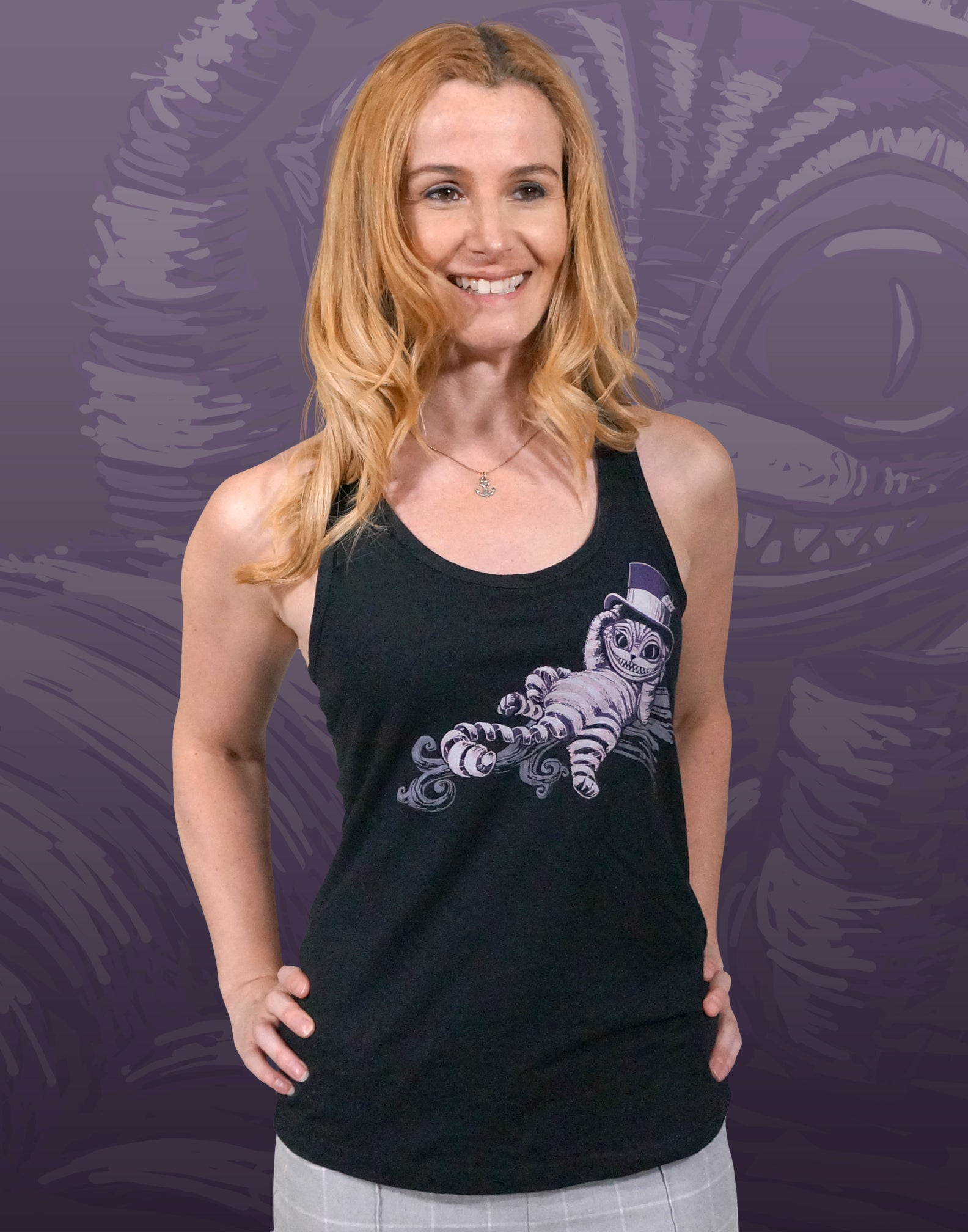 Line Owl Women/'s junior fit Racerback Tank Top