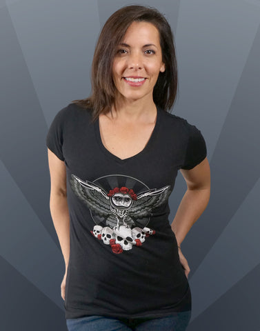 Dia De Los Muertos Owl Junior Women's Fitted V-Neck