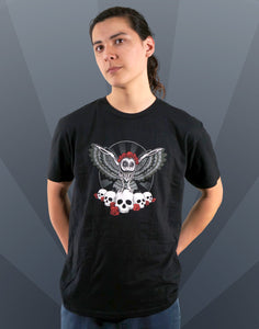 Dia De Los Muertos Owl Men's Fitted Crew Neck