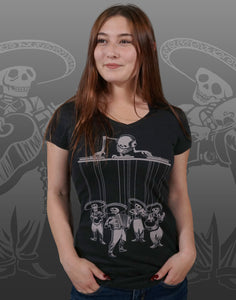 Dia De Los Muertos Junior Women's Fitted V-Neck