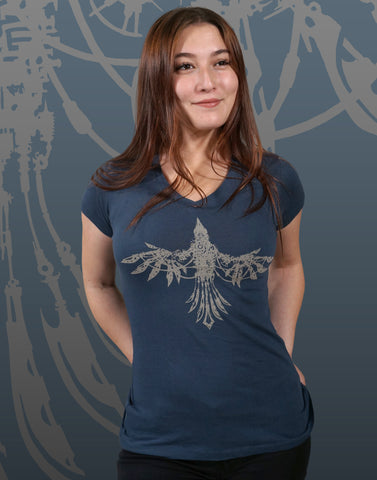 Mechanical Bird Junior Women's Fitted V-Neck