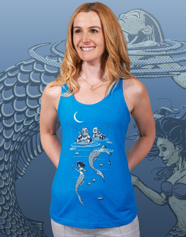 Mermaid Fishing Junior Women's Racerback Tank