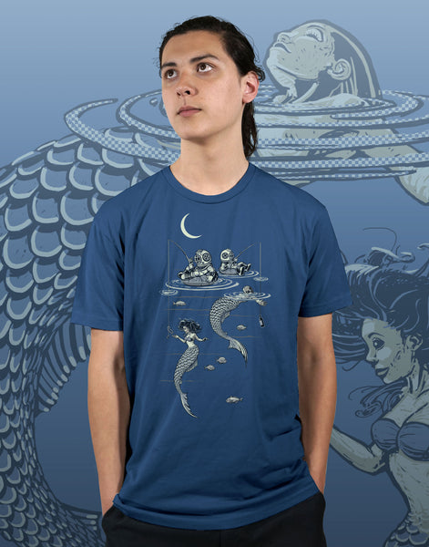 Mermaid Fishing Men's Fitted Crew Neck