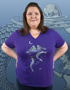 Mermaid Fishing Plus Size Women's V-Neck