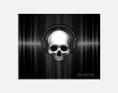 Skull Headphones Art Print