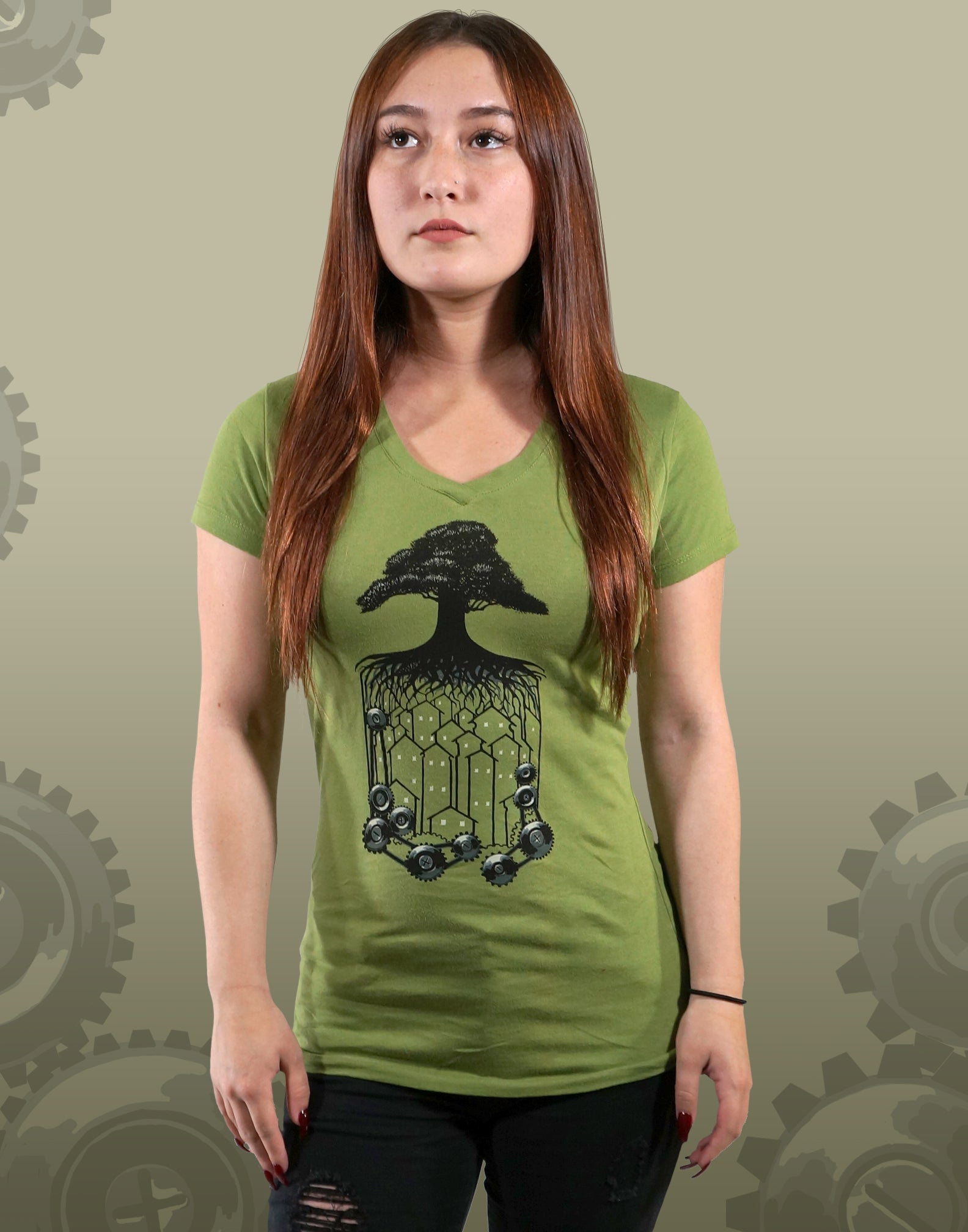 Tree Cog Junior Women's Fitted V-Neck