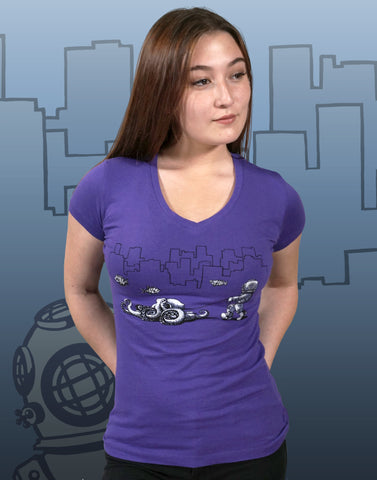 Walking Your Octopus Junior Women's Fitted V-Neck