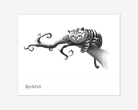 Cheshire Cat Black and White Art Print