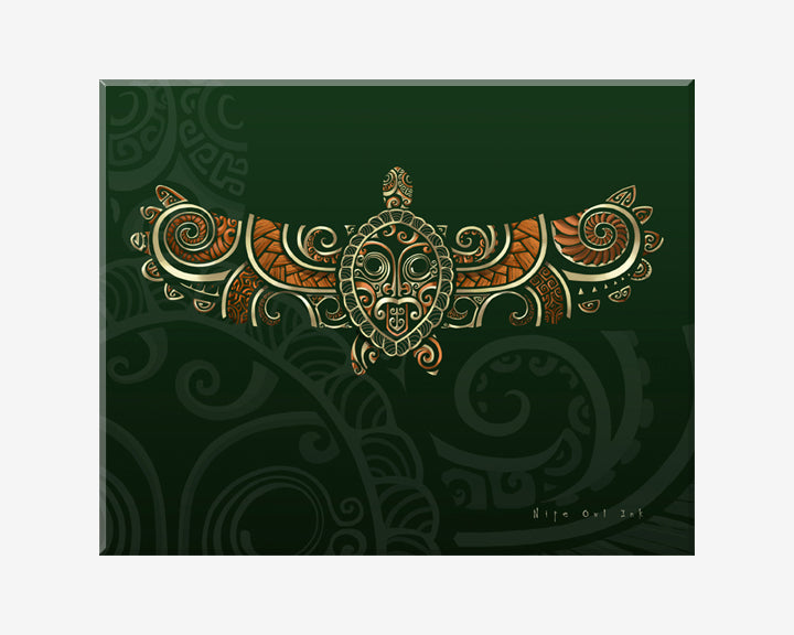Flying Turtle Orange Art Print