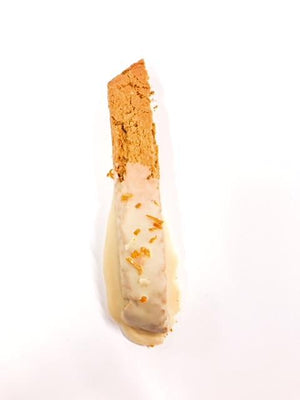 Our almond orange biscotti dipped in orange zesty SCD chocolate.