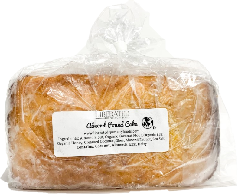 Imagine grandma's pound cake...Yep, this is the real deal, folks. This delicious treat is almond and coconut flour based. Dense, moist, and rich, this cake is very filling and satisfying. A great treat or afternoon tea accompaniment for those on specialized diets.