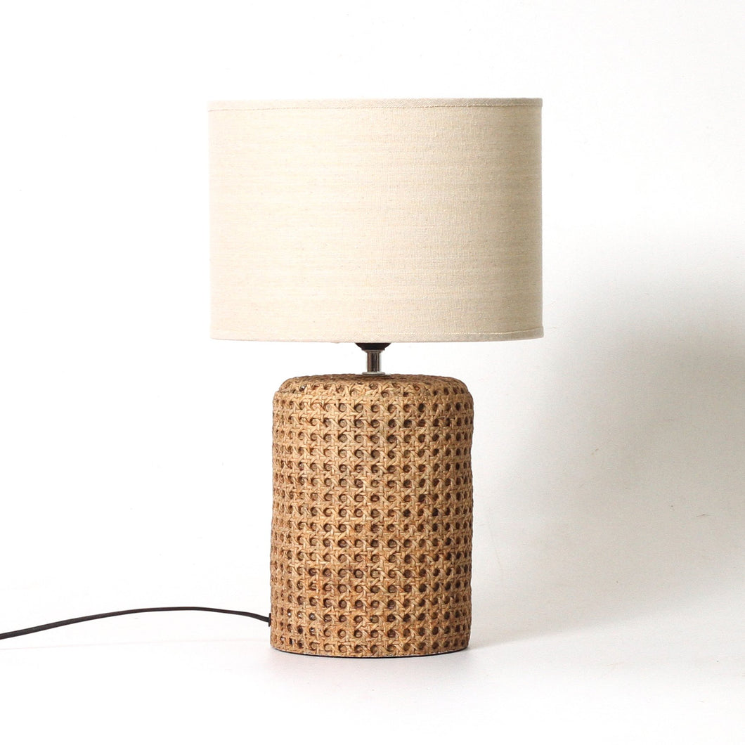 Large Cane Look Concrete Table Lamp