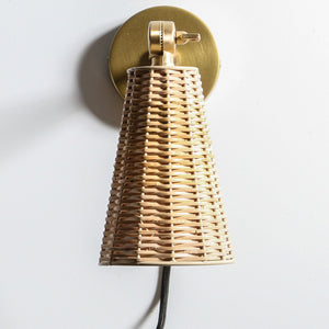 Wicker & Brass Wall Light