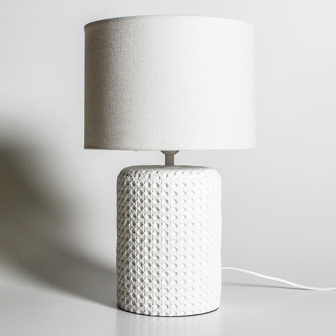 Large Cane Look Concrete Table Lamp WHITE