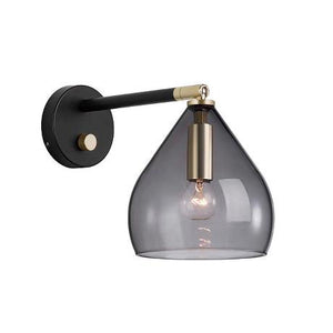 Black Glass Wall Light