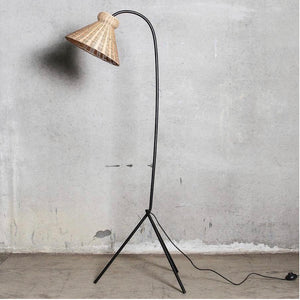 Wicker & Black Floor Lamp