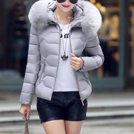 Fashion solid color short hooded warm zipper down jacket