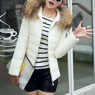 Fashion hooded solid color short down jacket