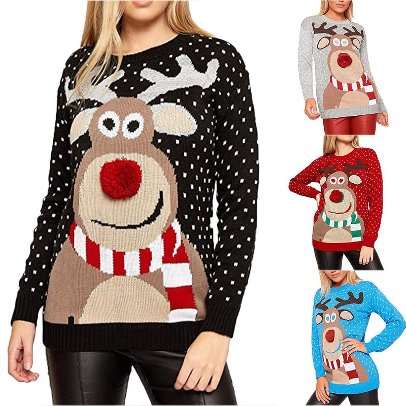 Womens Christmas Reindeer Ugly Xmas Sweater