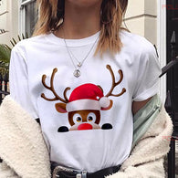 New reindeer Christmas Short Sleeve t shirt women 2019 Cheap Price