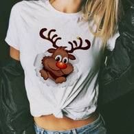 Funny New cute reindeer 3D t shirt women 2019 Cheap Price