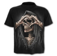 Male 3d Skull T Shirt Unique Death SkullHold Gun Print Hip Hop Tees Casual Slim Fit Casual Black Tees Plus Size