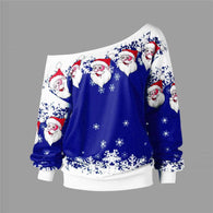 Ugly Santa Claus Printed  Loose Snowflake  Christmas Sweater