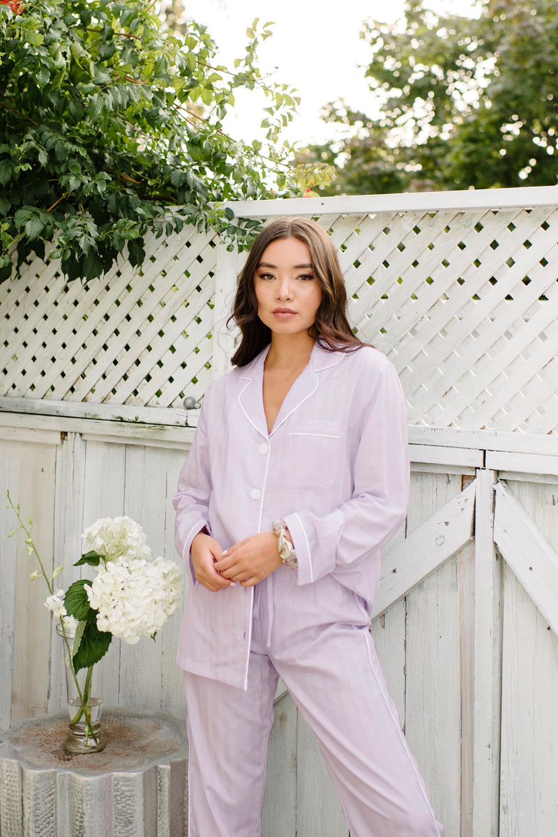Premium Cotton Pajama Set in Lavender