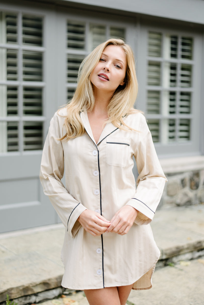 Premium Cotton Nightshirt in Champagne