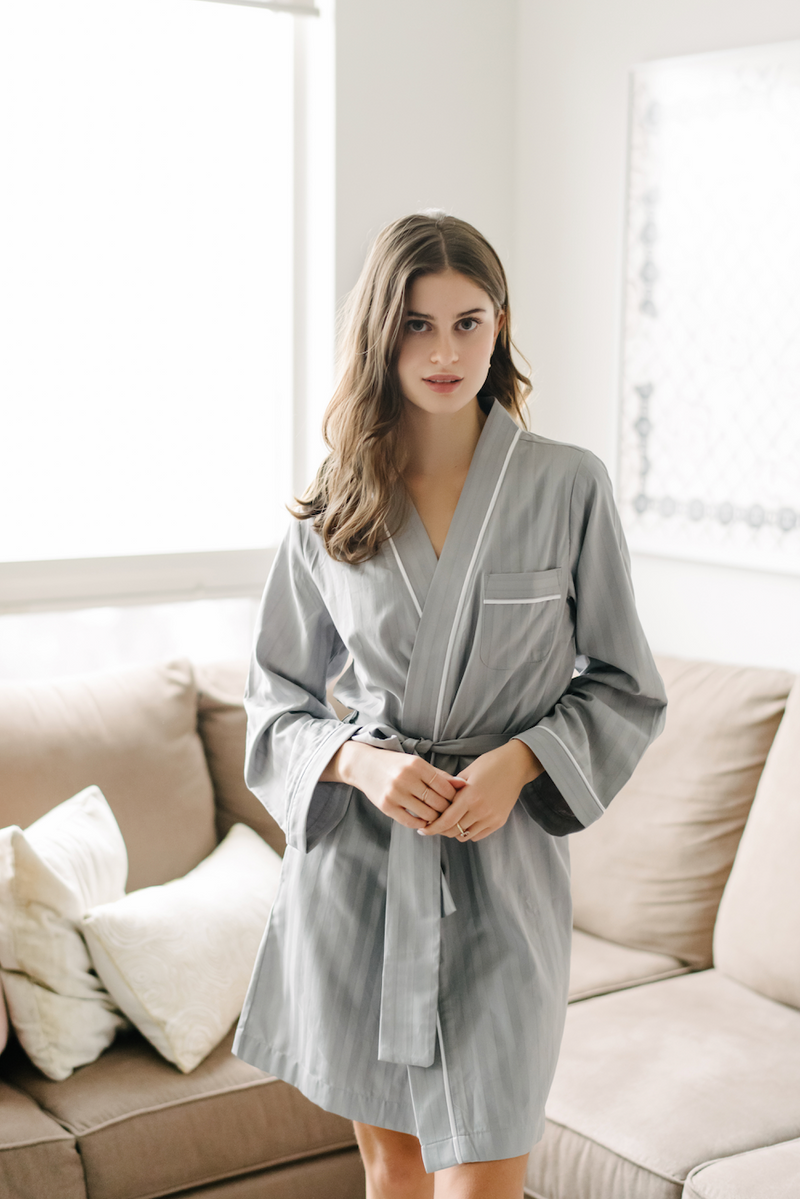 Premium Cotton Robe in Dove Grey