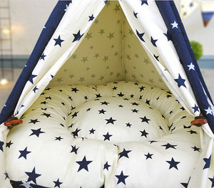 Pet Teepee in Milkyway + Thick Cushion