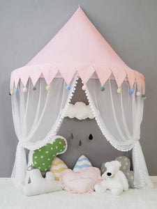 Wall Tent in Pink with Pompoms
